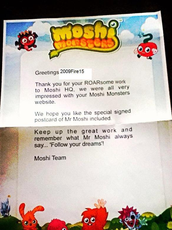 Letter from Moshi Monsters/Mind Candy